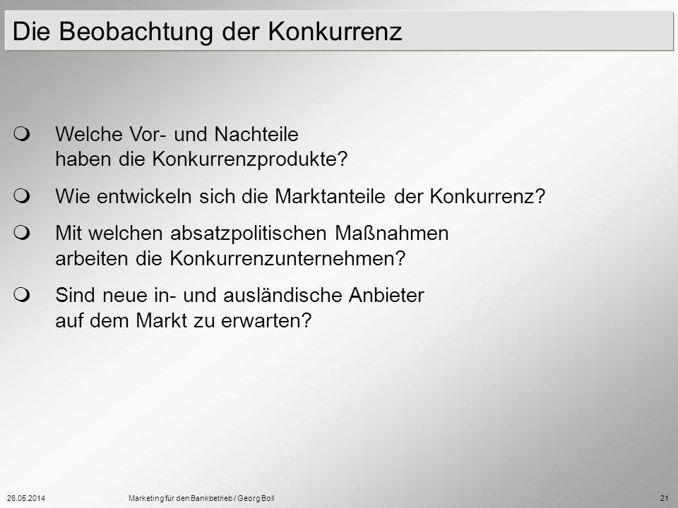26.05.2014Marketing für den Bankbetrieb / Georg Boll21 Welche Vor- und Nachteile haben die Konkurrenzprodukte? Wie entwickeln sich die Marktanteile de