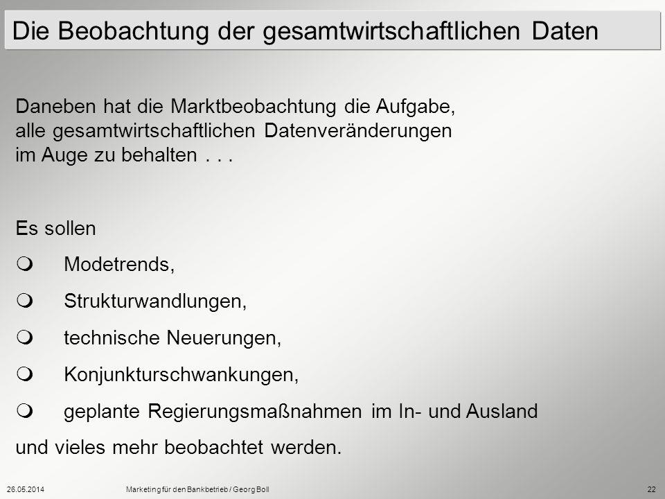 26.05.2014Marketing für den Bankbetrieb / Georg Boll22 Daneben hat die Marktbeobachtung die Aufgabe, alle gesamtwirtschaftlichen Datenveränderungen im