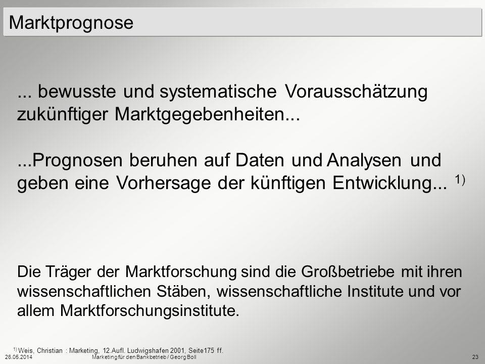 26.05.2014Marketing für den Bankbetrieb / Georg Boll23 Die Träger der Marktforschung sind die Großbetriebe mit ihren wissenschaftlichen Stäben, wissen