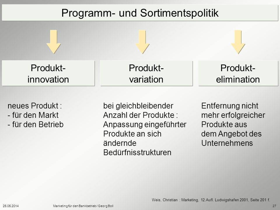 26.05.2014Marketing für den Bankbetrieb / Georg Boll27 Programm- und Sortimentspolitik Produkt- innovation Produkt- variation Produkt- elimination neu