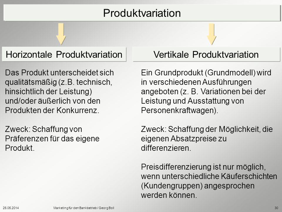 26.05.2014Marketing für den Bankbetrieb / Georg Boll30 Das Produkt unterscheidet sich qualitätsmäßig (z.B. technisch, hinsichtlich der Leistung) und/o