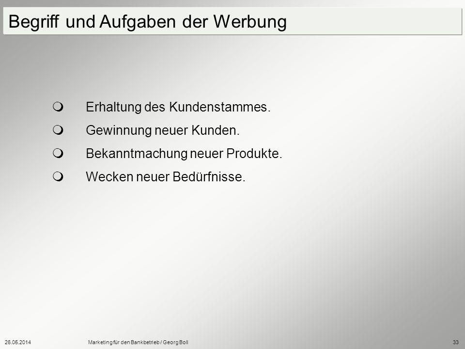 26.05.2014Marketing für den Bankbetrieb / Georg Boll33 Erhaltung des Kundenstammes. Gewinnung neuer Kunden. Bekanntmachung neuer Produkte. Wecken neue