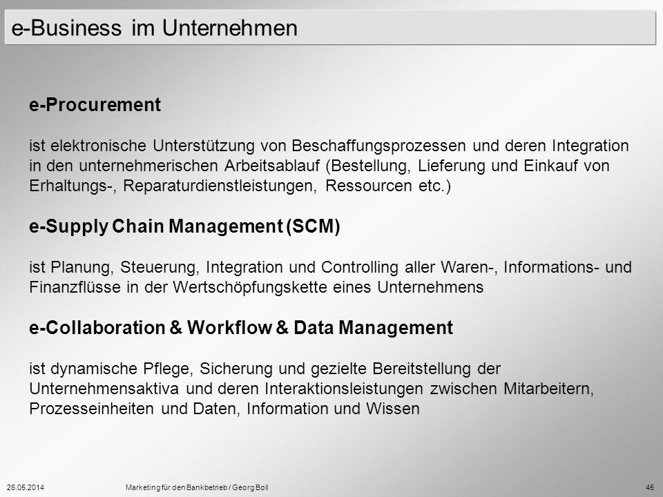 26.05.2014Marketing für den Bankbetrieb / Georg Boll45 e-Business im Unternehmen e-Procurement ist elektronische Unterstützung von Beschaffungsprozess