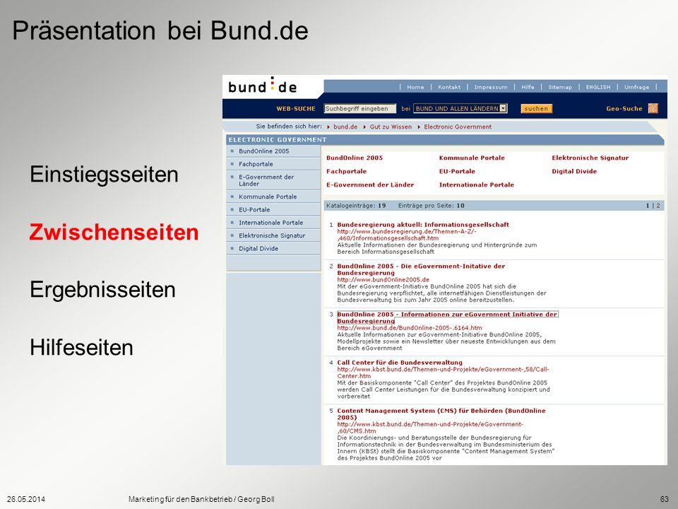 26.05.2014Marketing für den Bankbetrieb / Georg Boll63 Einstiegsseiten Zwischenseiten Ergebnisseiten Hilfeseiten Präsentation bei Bund.de