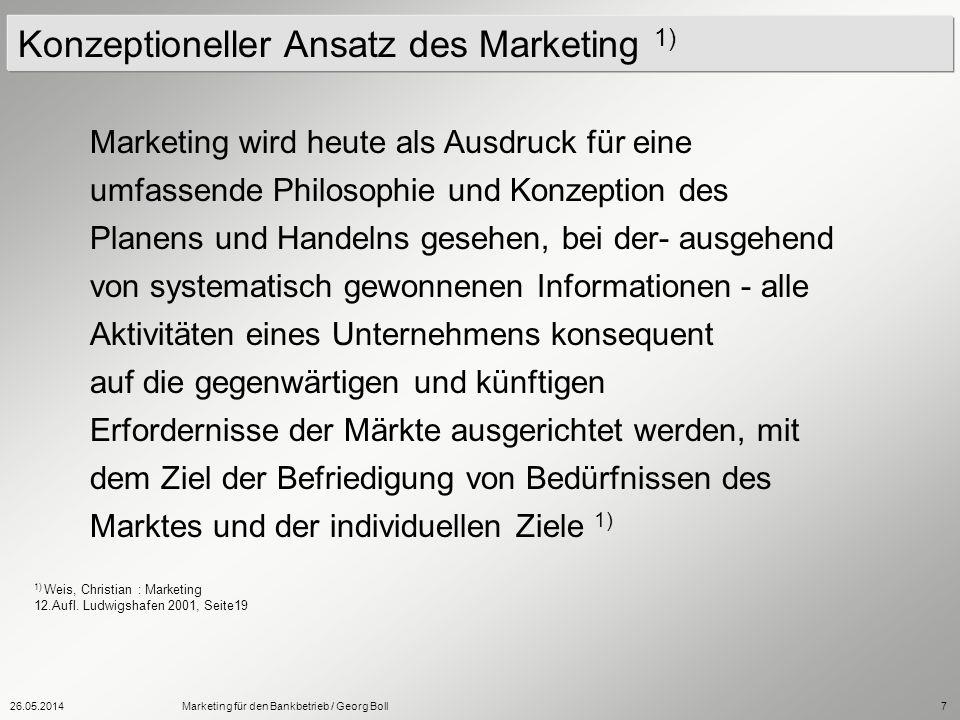 26.05.2014Marketing für den Bankbetrieb / Georg Boll7 Marketing wird heute als Ausdruck für eine umfassende Philosophie und Konzeption des Planens und
