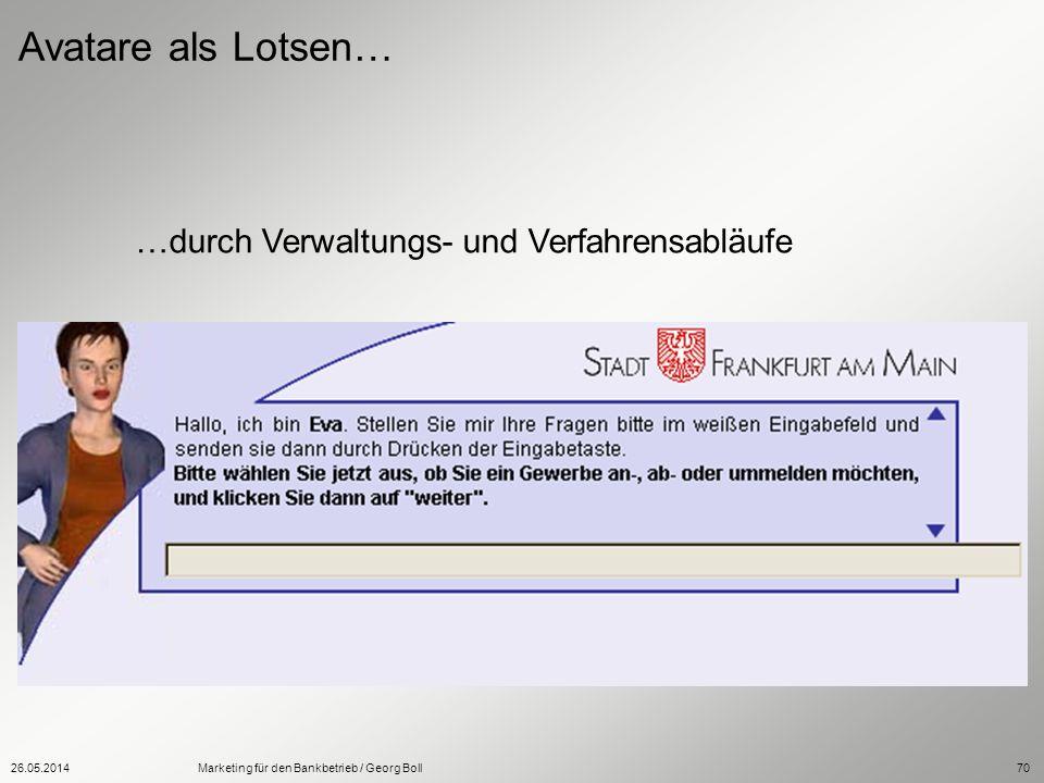 26.05.2014Marketing für den Bankbetrieb / Georg Boll70 Avatare als Lotsen… …durch Verwaltungs- und Verfahrensabläufe