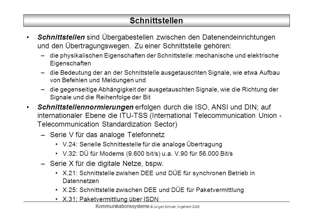 Kommunikationssysteme © Jürgen Schüler, Ingelheim 2006 Schnittstellen Schnittstellen sind Übergabestellen zwischen den Datenendeinrichtungen und den Übertragungswegen.