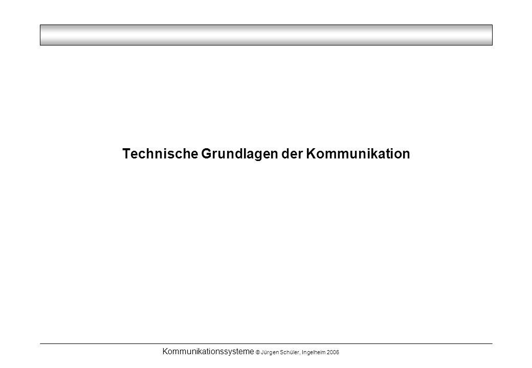 Kommunikationssysteme © Jürgen Schüler, Ingelheim 2006 Technische Grundlagen der Kommunikation