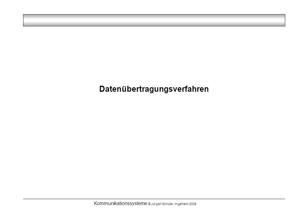 Kommunikationssysteme © Jürgen Schüler, Ingelheim 2006 Datenübertragungsverfahren