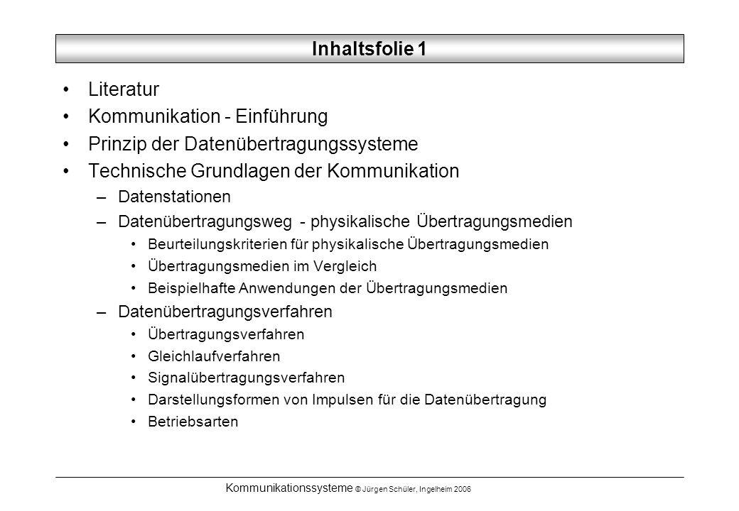 Kommunikationssysteme © Jürgen Schüler, Ingelheim 2006 Inhaltsfolie 1 Literatur Kommunikation - Einführung Prinzip der Datenübertragungssysteme Techni