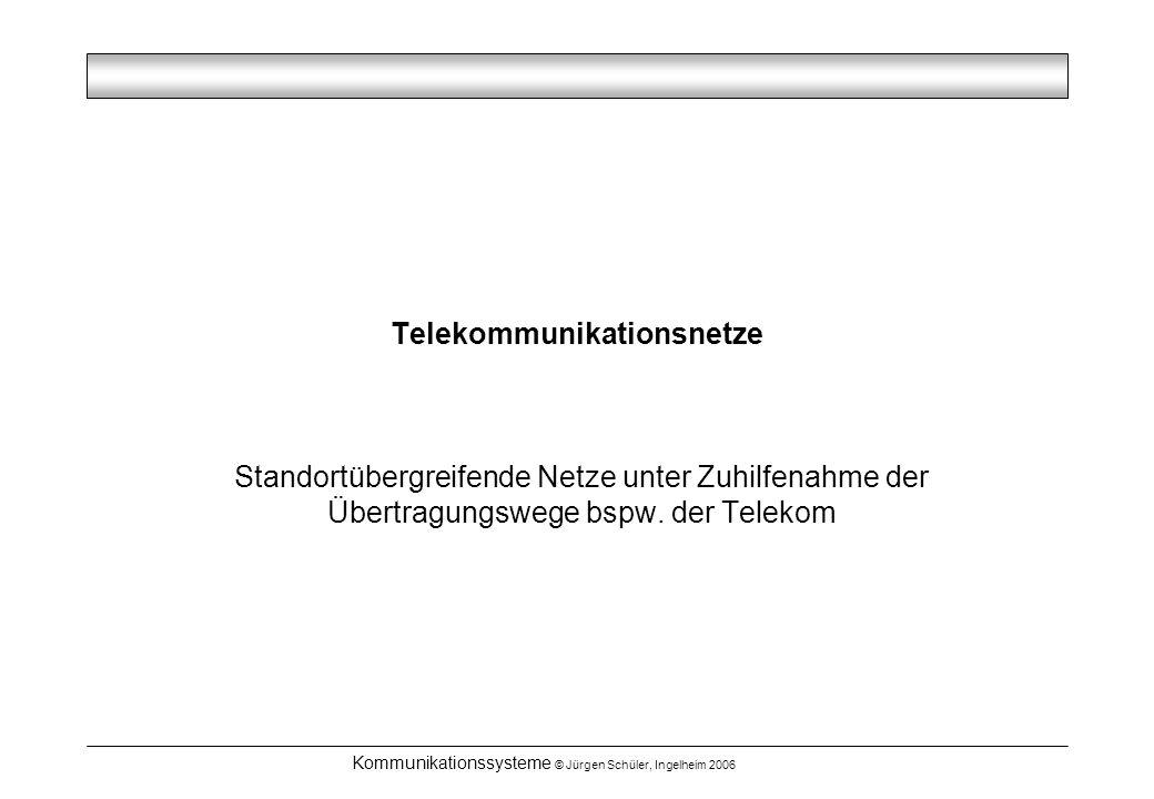 Kommunikationssysteme © Jürgen Schüler, Ingelheim 2006 Telekommunikationsnetze Standortübergreifende Netze unter Zuhilfenahme der Übertragungswege bspw.