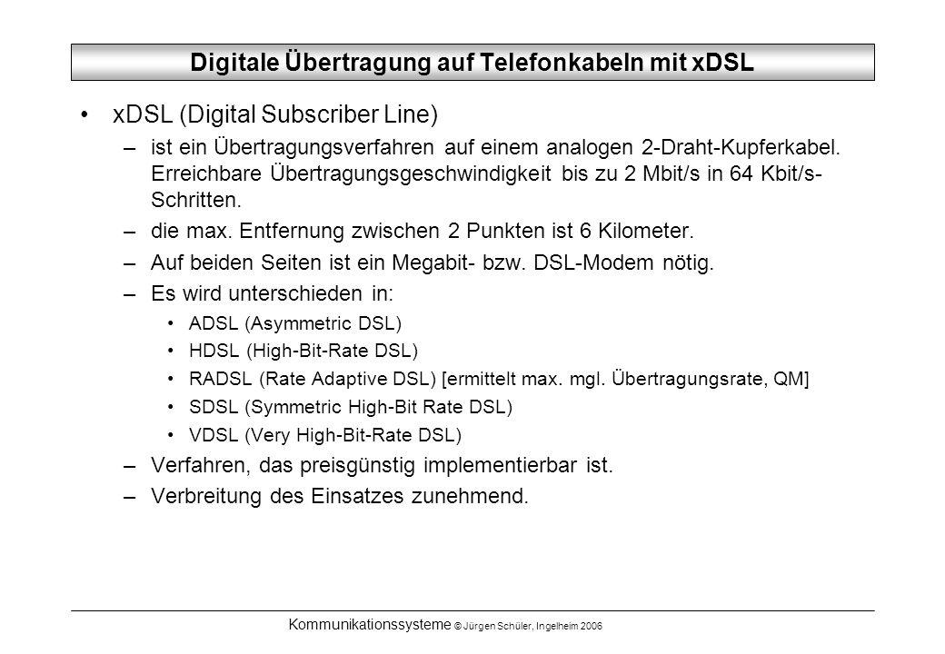 Kommunikationssysteme © Jürgen Schüler, Ingelheim 2006 Digitale Übertragung auf Telefonkabeln mit xDSL xDSL (Digital Subscriber Line) –ist ein Übertragungsverfahren auf einem analogen 2-Draht-Kupferkabel.