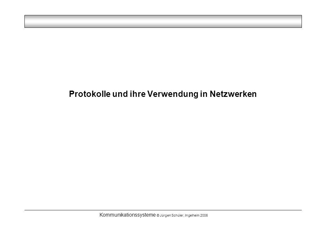 Kommunikationssysteme © Jürgen Schüler, Ingelheim 2006 Protokolle und ihre Verwendung in Netzwerken
