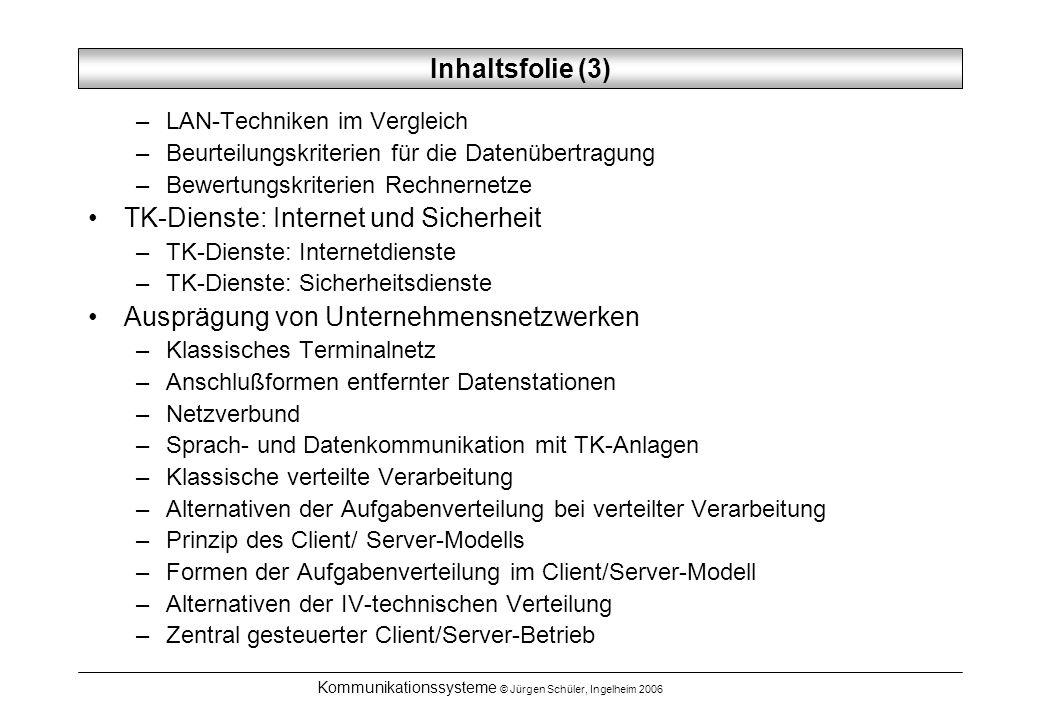Kommunikationssysteme © Jürgen Schüler, Ingelheim 2006 Telekommunikationsnetze TK-Netze unterscheiden sich durch: –die Form der Signalübertragung (digital / analog) –die durchschnittliche Bit-Fehlerwahrscheinlichkeit –unterschiedliche maximale Übertragungsraten –die Vermittlungsart (Leitungs- oder Paketvermittlung)