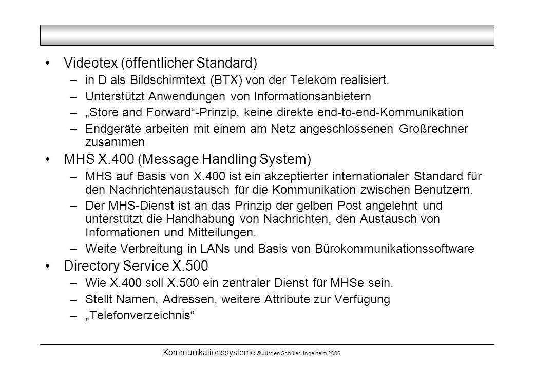 Kommunikationssysteme © Jürgen Schüler, Ingelheim 2006 Videotex (öffentlicher Standard) –in D als Bildschirmtext (BTX) von der Telekom realisiert. –Un