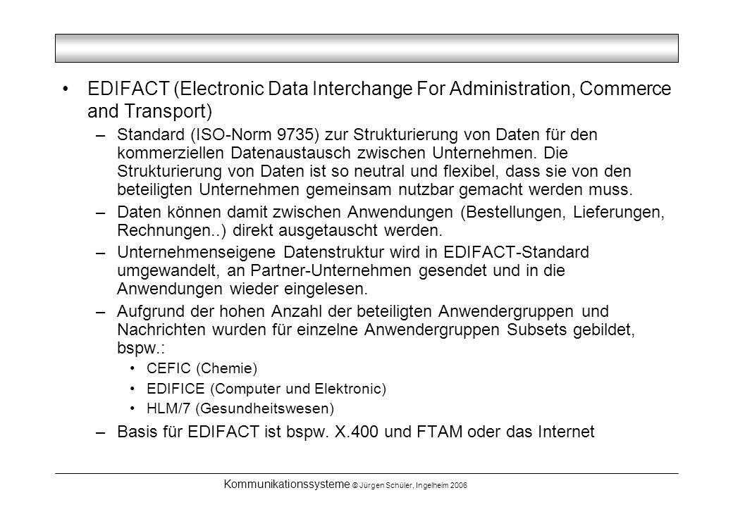 Kommunikationssysteme © Jürgen Schüler, Ingelheim 2006 EDIFACT (Electronic Data Interchange For Administration, Commerce and Transport) –Standard (ISO-Norm 9735) zur Strukturierung von Daten für den kommerziellen Datenaustausch zwischen Unternehmen.