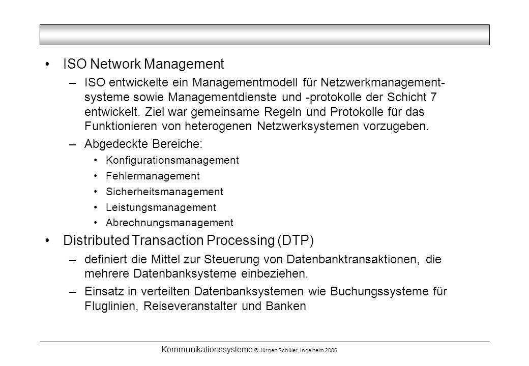 Kommunikationssysteme © Jürgen Schüler, Ingelheim 2006 ISO Network Management –ISO entwickelte ein Managementmodell für Netzwerkmanagement- systeme sowie Managementdienste und -protokolle der Schicht 7 entwickelt.