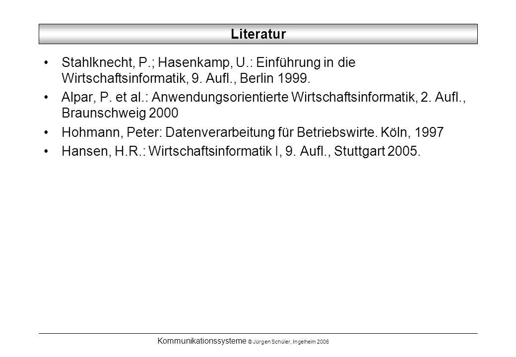 Kommunikationssysteme © Jürgen Schüler, Ingelheim 2006 LAN und WAN LAN (Local Area Network) –definiert als lokales Netzwerk in einem Gebäude oder Grundstück –Eigenschaften: hohe Übertragungsgeschwindigkeiten (10 Mbit/s bis 100Mbit/s) niedrige Fehlerrate geschlossener Zugang kurze Reichweiten (einige 100m bis wenige km) bei Verwendung von Kupferkabeln (Koaxial), bis zu 20km bei Glasfaserverwendung –Serverbasierte Netzwerke / Peer-to-Peer-Netzwerke WAN (Wide Area Network) –definiert als Netzwerk, das auch öffentliche TK-Dienste zur Überbrückung von öffentlichen Strecken nutzt –für die öffentliche Verbindungsstrecke sind in der Regel besondere Verbindungsrechner / TK-Anschlüsse notwendig.