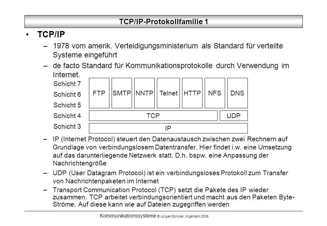 Kommunikationssysteme © Jürgen Schüler, Ingelheim 2006 TCP/IP-Protokollfamilie 1 TCP/IP –1978 vom amerik. Verteidigungsministerium als Standard für ve