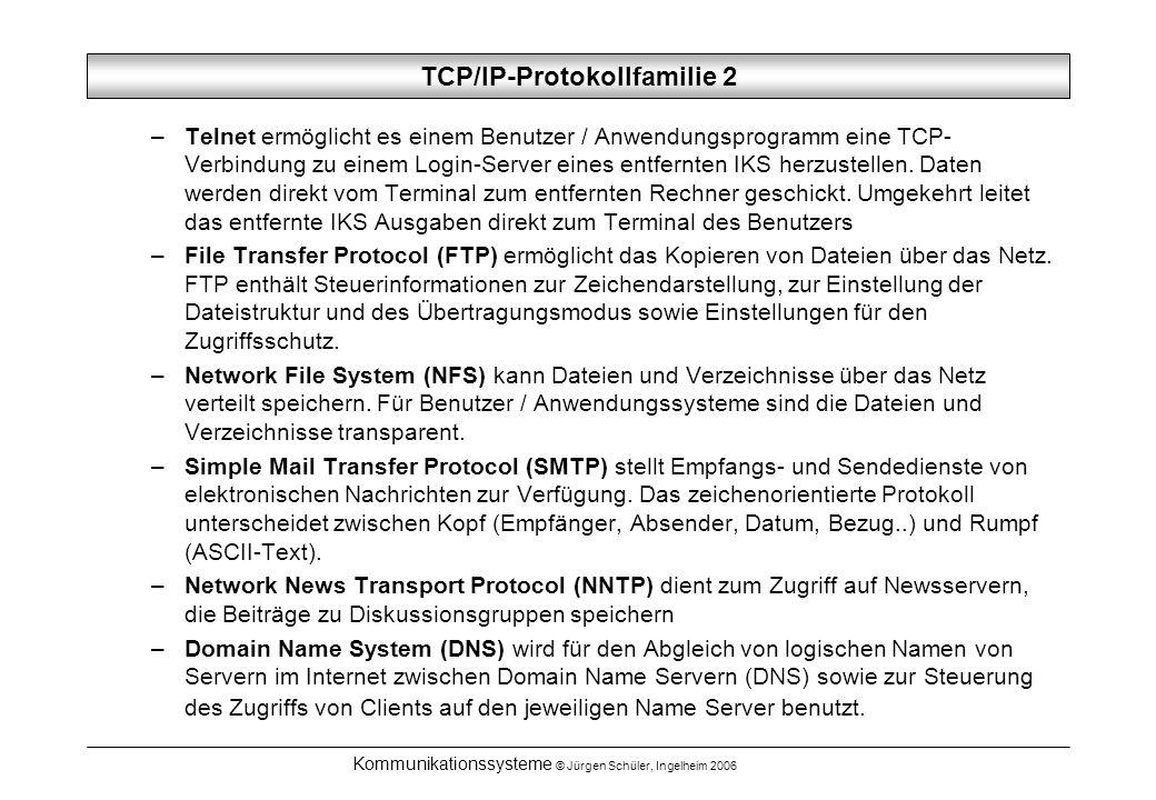 Kommunikationssysteme © Jürgen Schüler, Ingelheim 2006 TCP/IP-Protokollfamilie 2 –Telnet ermöglicht es einem Benutzer / Anwendungsprogramm eine TCP- V