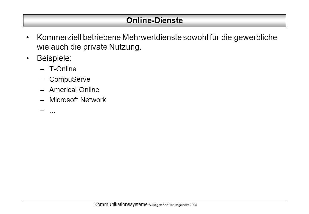 Kommunikationssysteme © Jürgen Schüler, Ingelheim 2006 Online-Dienste Kommerziell betriebene Mehrwertdienste sowohl für die gewerbliche wie auch die private Nutzung.