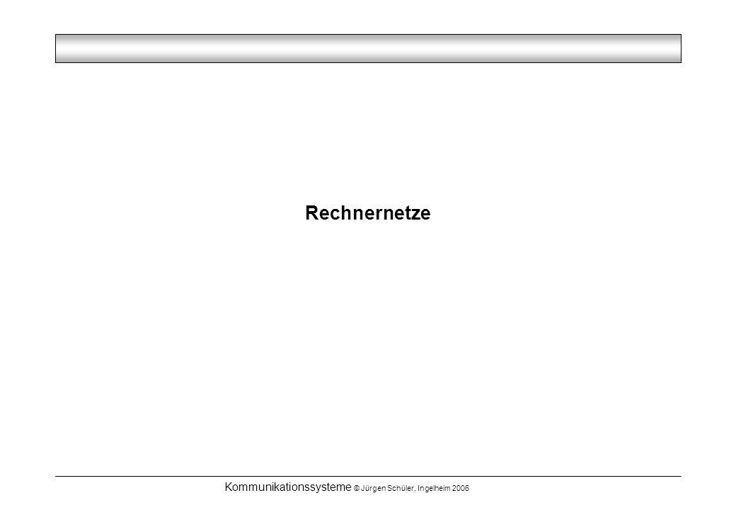 Kommunikationssysteme © Jürgen Schüler, Ingelheim 2006 Rechnernetze