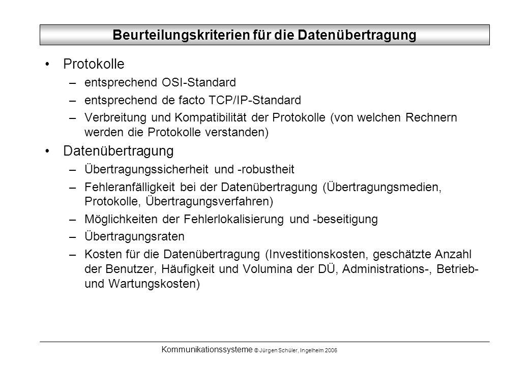 Kommunikationssysteme © Jürgen Schüler, Ingelheim 2006 Beurteilungskriterien für die Datenübertragung Protokolle –entsprechend OSI-Standard –entsprech
