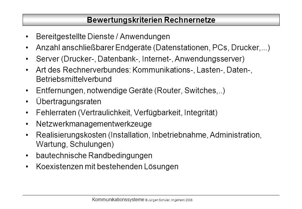 Kommunikationssysteme © Jürgen Schüler, Ingelheim 2006 Bewertungskriterien Rechnernetze Bereitgestellte Dienste / Anwendungen Anzahl anschließbarer Endgeräte (Datenstationen, PCs, Drucker,...) Server (Drucker-, Datenbank-, Internet-, Anwendungsserver) Art des Rechnerverbundes: Kommunikations-, Lasten-, Daten-, Betriebsmittelverbund Entfernungen, notwendige Geräte (Router, Switches,..) Übertragungsraten Fehlerraten (Vertraulichkeit, Verfügbarkeit, Integrität) Netzwerkmanagementwerkzeuge Realisierungskosten (Installation, Inbetriebnahme, Administration, Wartung, Schulungen) bautechnische Randbedingungen Koexistenzen mit bestehenden Lösungen