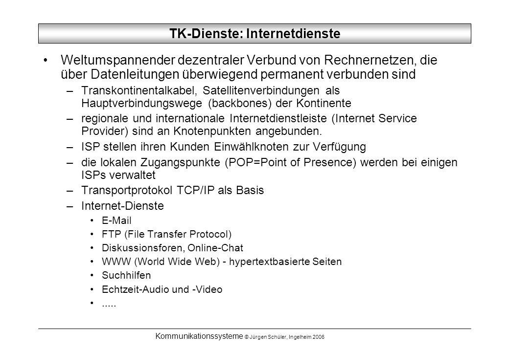 Kommunikationssysteme © Jürgen Schüler, Ingelheim 2006 TK-Dienste: Internetdienste Weltumspannender dezentraler Verbund von Rechnernetzen, die über Da