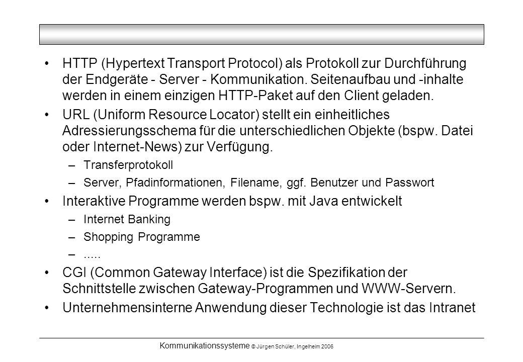 Kommunikationssysteme © Jürgen Schüler, Ingelheim 2006 HTTP (Hypertext Transport Protocol) als Protokoll zur Durchführung der Endgeräte - Server - Kommunikation.