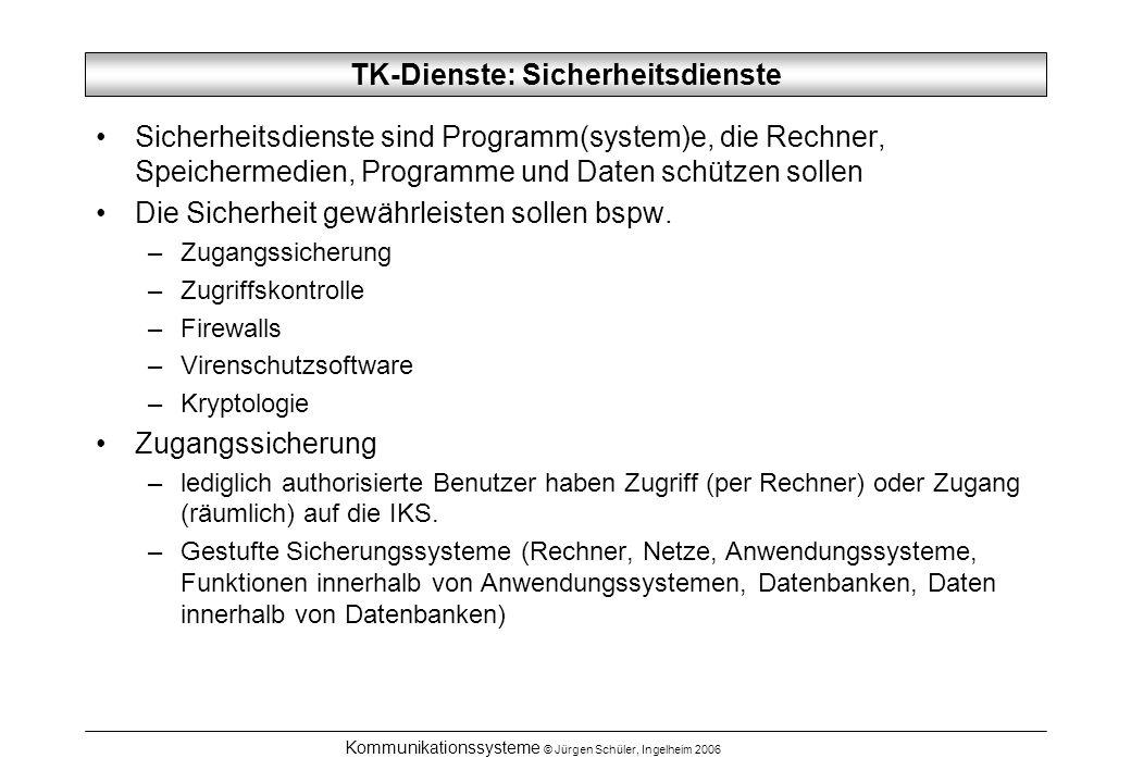 Kommunikationssysteme © Jürgen Schüler, Ingelheim 2006 TK-Dienste: Sicherheitsdienste Sicherheitsdienste sind Programm(system)e, die Rechner, Speichermedien, Programme und Daten schützen sollen Die Sicherheit gewährleisten sollen bspw.