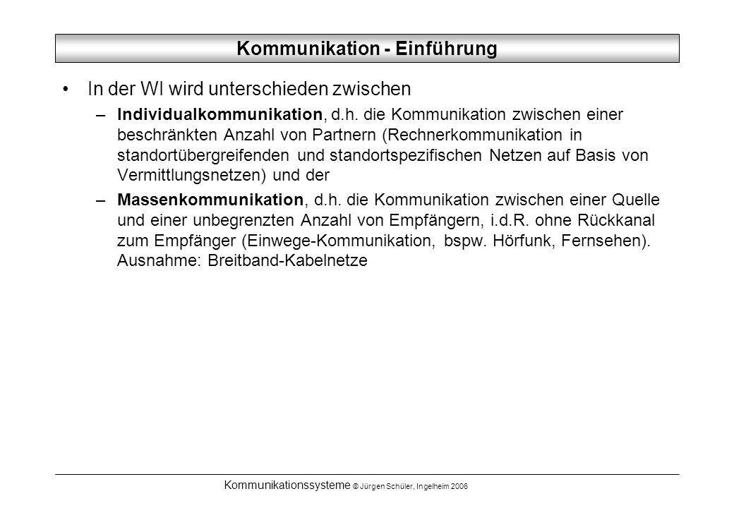 Kommunikationssysteme © Jürgen Schüler, Ingelheim 2006 Vermittlungsverfahren Leitungsvermittlung –Für die Kommunikation zwischen zwei Teilnehmern wird für die Dauer dieser Kommunikation eine ausschließliche physikalische Verbindung bereitgestellt (Leistungsreservierung).