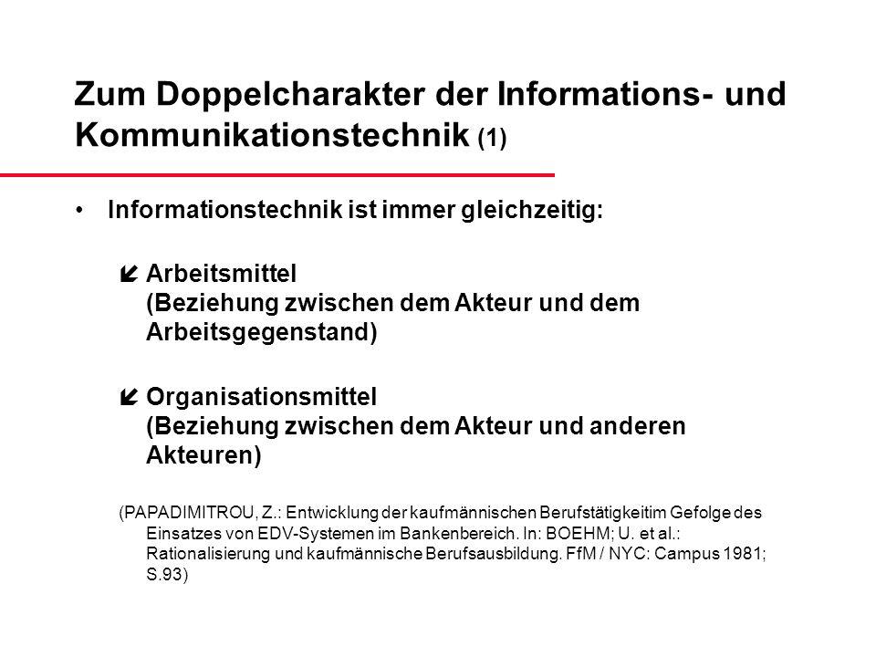 Zum Doppelcharakter der Informations- und Kommunikationstechnik (1) Informationstechnik ist immer gleichzeitig: íArbeitsmittel (Beziehung zwischen dem