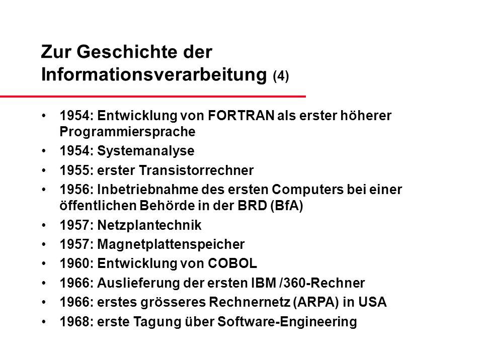 Zur Geschichte der Informationsverarbeitung (4) 1954: Entwicklung von FORTRAN als erster höherer Programmiersprache 1954: Systemanalyse 1955: erster T