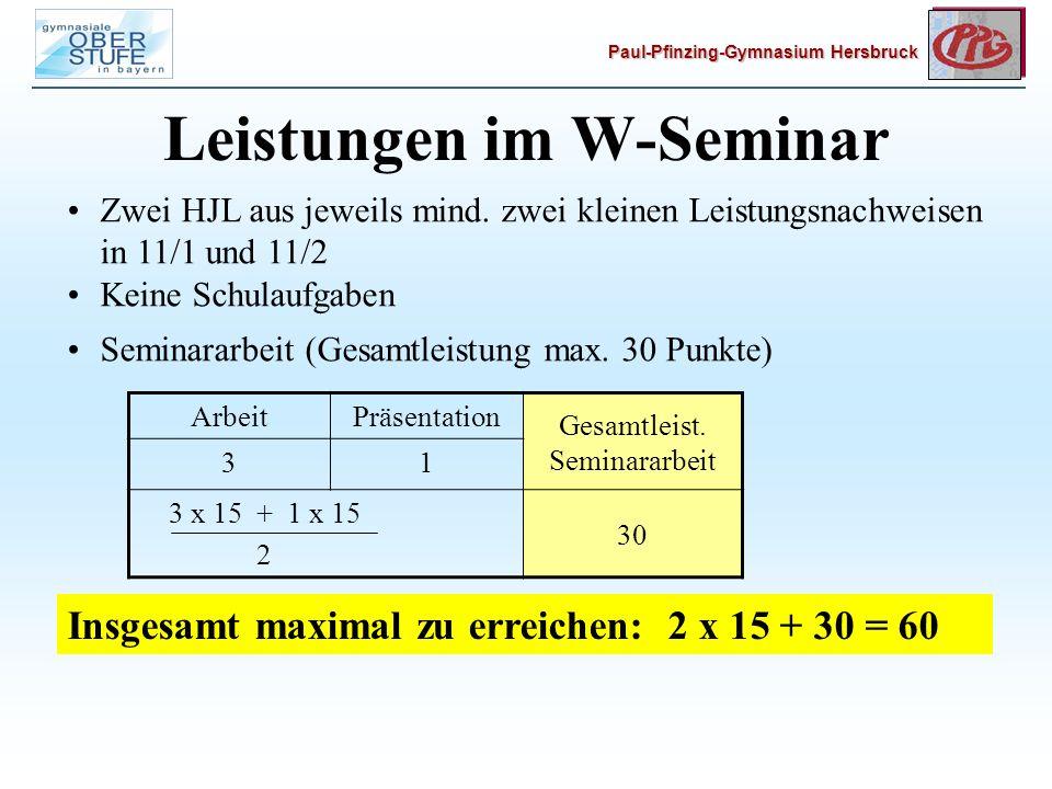 Paul-Pfinzing-Gymnasium Hersbruck Leistungen im W-Seminar Zwei HJL aus jeweils mind.