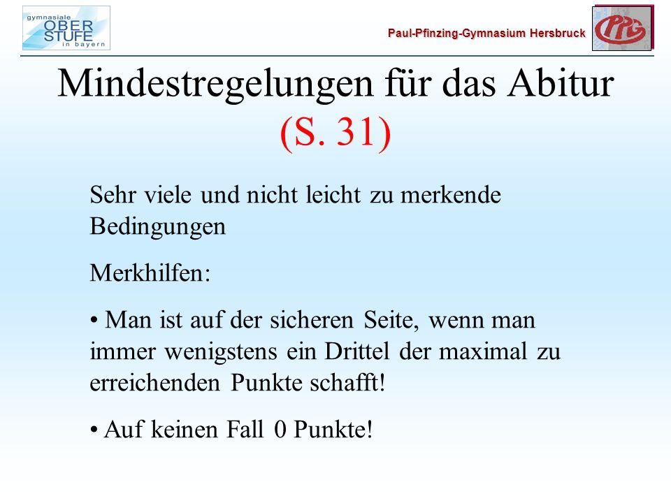 Paul-Pfinzing-Gymnasium Hersbruck Mindestregelungen für das Abitur (S.