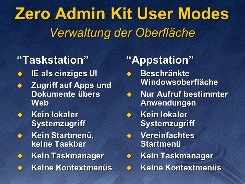 Zero Admin Kit User Modes Verwaltung der Oberfläche Taskstation IE als einziges UI IE als einziges UI Zugriff auf Apps und Dokumente übers Web Zugriff auf Apps und Dokumente übers Web Kein lokaler Systemzugriff Kein lokaler Systemzugriff Kein Startmenü, keine Taskbar Kein Startmenü, keine Taskbar Kein Taskmanager Kein Taskmanager Keine Kontextmenüs Keine KontextmenüsAppstation Beschränkte Windowsoberfläche Beschränkte Windowsoberfläche Nur Aufruf bestimmter Anwendungen Nur Aufruf bestimmter Anwendungen Kein lokaler Systemzugriff Kein lokaler Systemzugriff Vereinfachtes Startmenü Vereinfachtes Startmenü Kein Taskmanager Kein Taskmanager Keine Kontextmenüs Keine Kontextmenüs