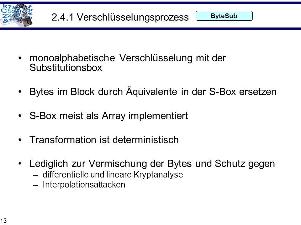 13 2.4.1 Verschlüsselungsprozess monoalphabetische Verschlüsselung mit der Substitutionsbox Bytes im Block durch Äquivalente in der S-Box ersetzen S-B