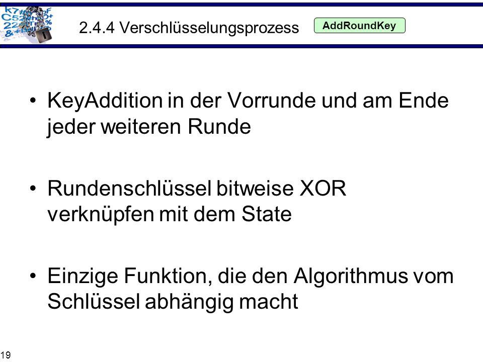 19 2.4.4 Verschlüsselungsprozess KeyAddition in der Vorrunde und am Ende jeder weiteren Runde Rundenschlüssel bitweise XOR verknüpfen mit dem State Ei