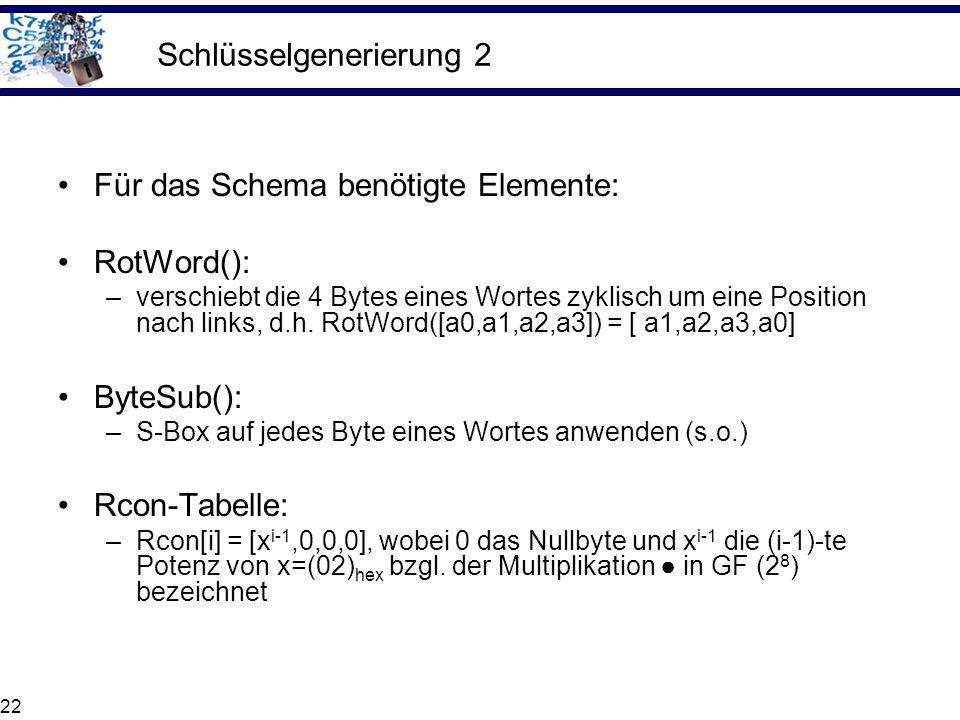 22 Schlüsselgenerierung 2 Für das Schema benötigte Elemente: RotWord(): –verschiebt die 4 Bytes eines Wortes zyklisch um eine Position nach links, d.h