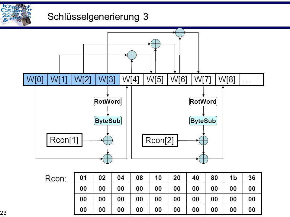 23 Schlüsselgenerierung 3 …W[8]W[7]W[6]W[5]W[4]W[3]W[2]W[1]W[0] ByteSub RotWord Rcon[1] ByteSub RotWord Rcon[2] 01020408102040801b36 00 Rcon: