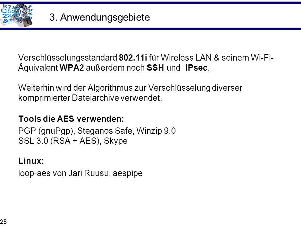 25 3. Anwendungsgebiete Verschlüsselungsstandard 802.11i für Wireless LAN & seinem Wi-Fi- Äquivalent WPA2 außerdem noch SSH und IPsec. Weiterhin wird