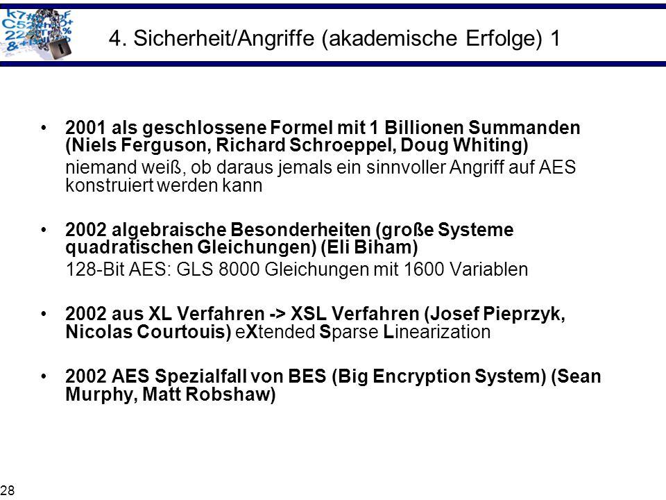 28 4. Sicherheit/Angriffe (akademische Erfolge) 1 2001 als geschlossene Formel mit 1 Billionen Summanden (Niels Ferguson, Richard Schroeppel, Doug Whi