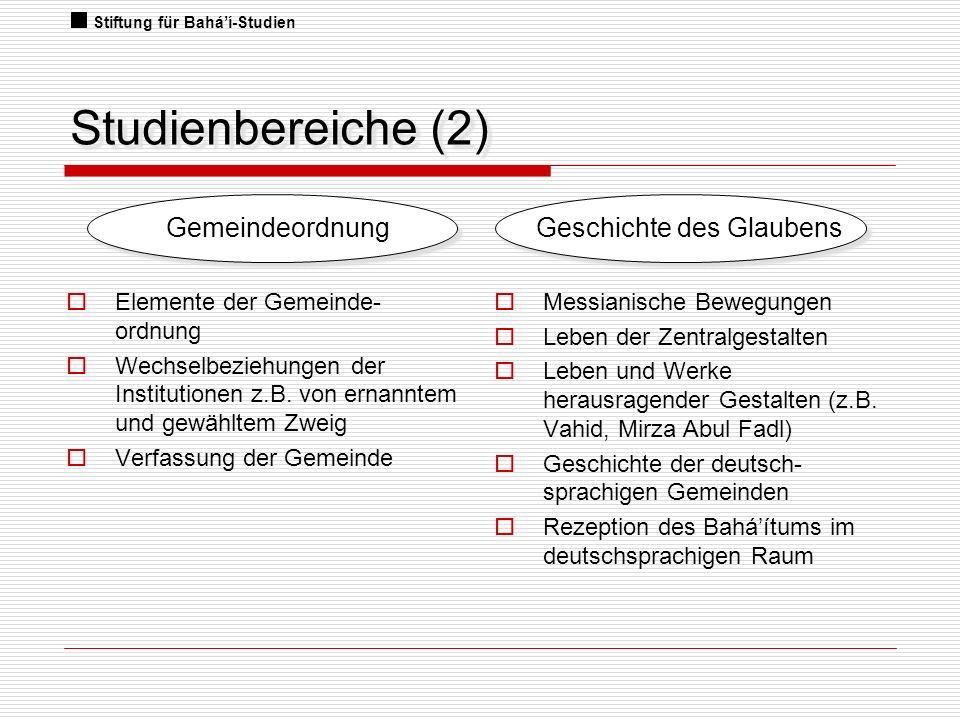 Studienbereiche (2) Elemente der Gemeinde- ordnung Wechselbeziehungen der Institutionen z.B. von ernanntem und gewähltem Zweig Verfassung der Gemeinde