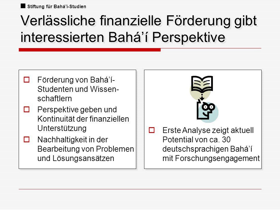 Verlässliche finanzielle Förderung gibt interessierten Baháí Perspektive Förderung von Baháí- Studenten und Wissen- schaftlern Perspektive geben und K