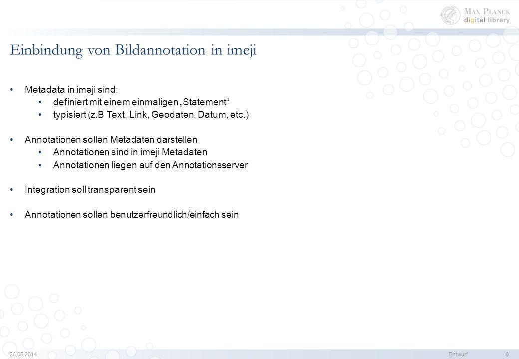 26.05.2014Entwurf 8 Einbindung von Bildannotation in imeji Metadata in imeji sind: definiert mit einem einmaligen Statement typisiert (z.B Text, Link, Geodaten, Datum, etc.) Annotationen sollen Metadaten darstellen Annotationen sind in imeji Metadaten Annotationen liegen auf den Annotationsserver Integration soll transparent sein Annotationen sollen benutzerfreundlich/einfach sein