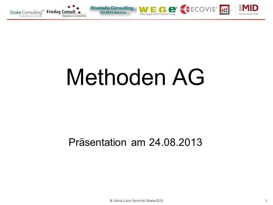 © Kuhls / Lörz / Schmidt / Strake 20131 Methoden AG Präsentation am 24.08.2013