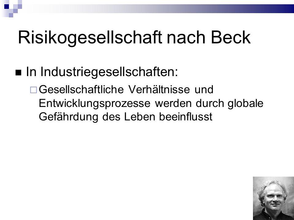 Risikogesellschaft nach Beck In Industriegesellschaften: Gesellschaftliche Verhältnisse und Entwicklungsprozesse werden durch globale Gefährdung des Leben beeinflusst