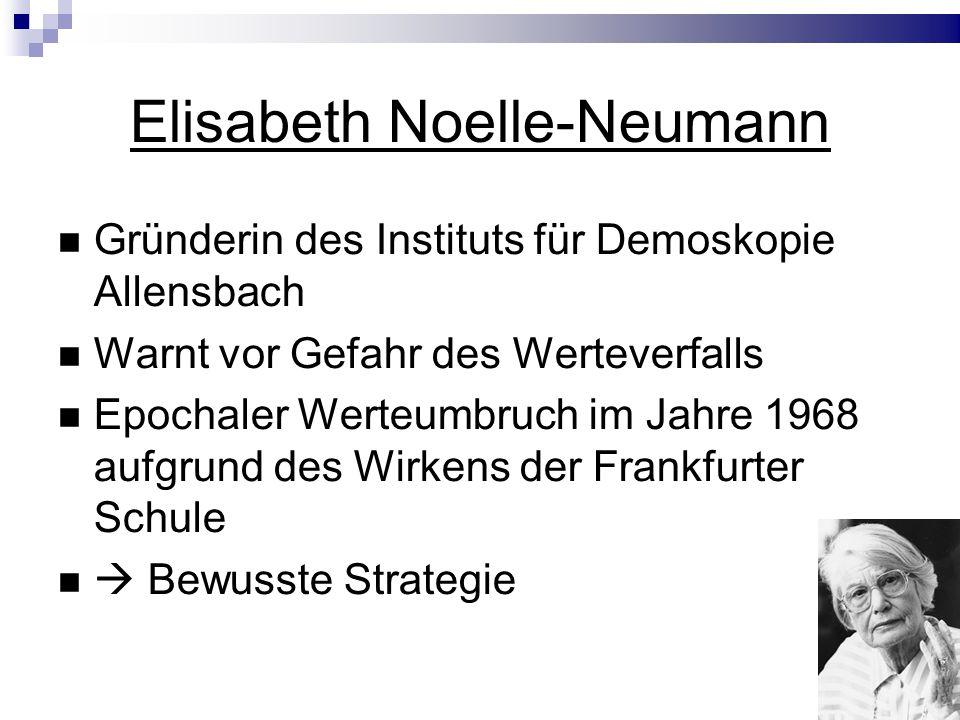 Elisabeth Noelle-Neumann Gründerin des Instituts für Demoskopie Allensbach Warnt vor Gefahr des Werteverfalls Epochaler Werteumbruch im Jahre 1968 aufgrund des Wirkens der Frankfurter Schule Bewusste Strategie