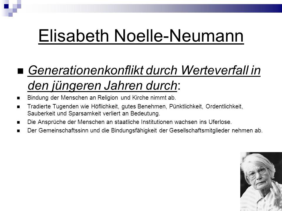 Elisabeth Noelle-Neumann Generationenkonflikt durch Werteverfall in den jüngeren Jahren durch: Bindung der Menschen an Religion und Kirche nimmt ab.